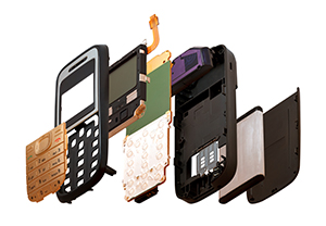 Exploded view of cell phone
