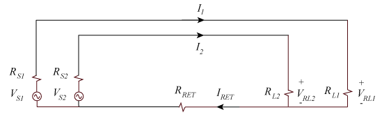 Two circuits sharing a common signal return wire